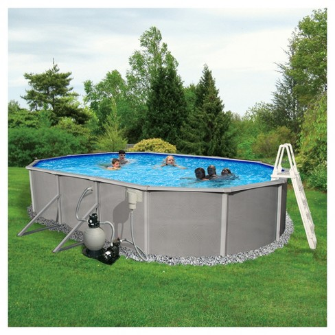 "Blue Wave Barcelona Complete 18' x 33' Oval 52"" Deep Metal Wall Pool Package - Gray - image 1 of 6"