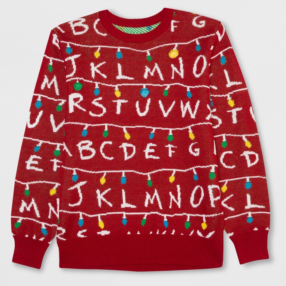 Men's Tall Stranger Things Light Up Ugly Holiday Sweatshirt - Scarlet (Red) Xlt