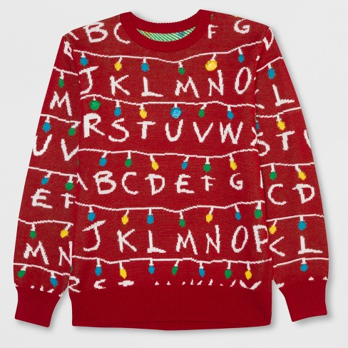 Men's Tall Stranger Things Light Up Ugly Holiday Sweatshirt - Scarlet XLT - image 1 of 2