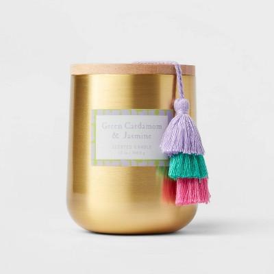13oz Global Lidded Metal/Wood Tassel Green Cardamom and Jasmine Candle - Opalhouse™