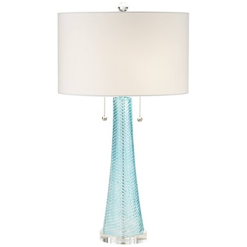 Table Lamp Light Aqua Blue Textured