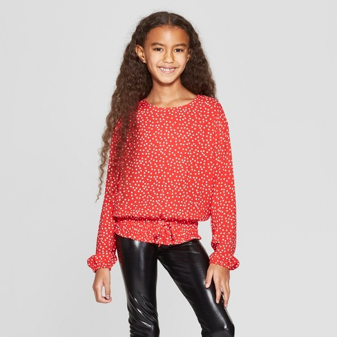 Girls' Tie Front Waist Long Sleeve Top - art class™ Red - image 1 of 3