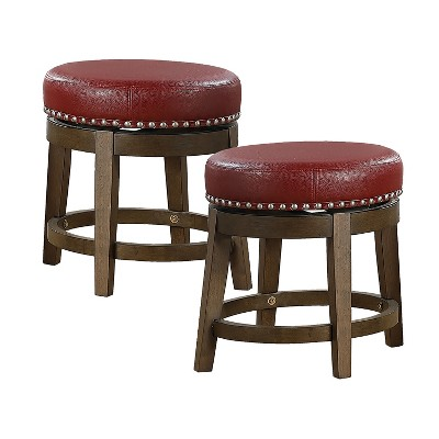 Lexicon Whitby 18 Inch Dining Height Wooden Bar Stool with Solid Wood Legs and Faux Leather Round Swivel Seat, Red (2 Pack)