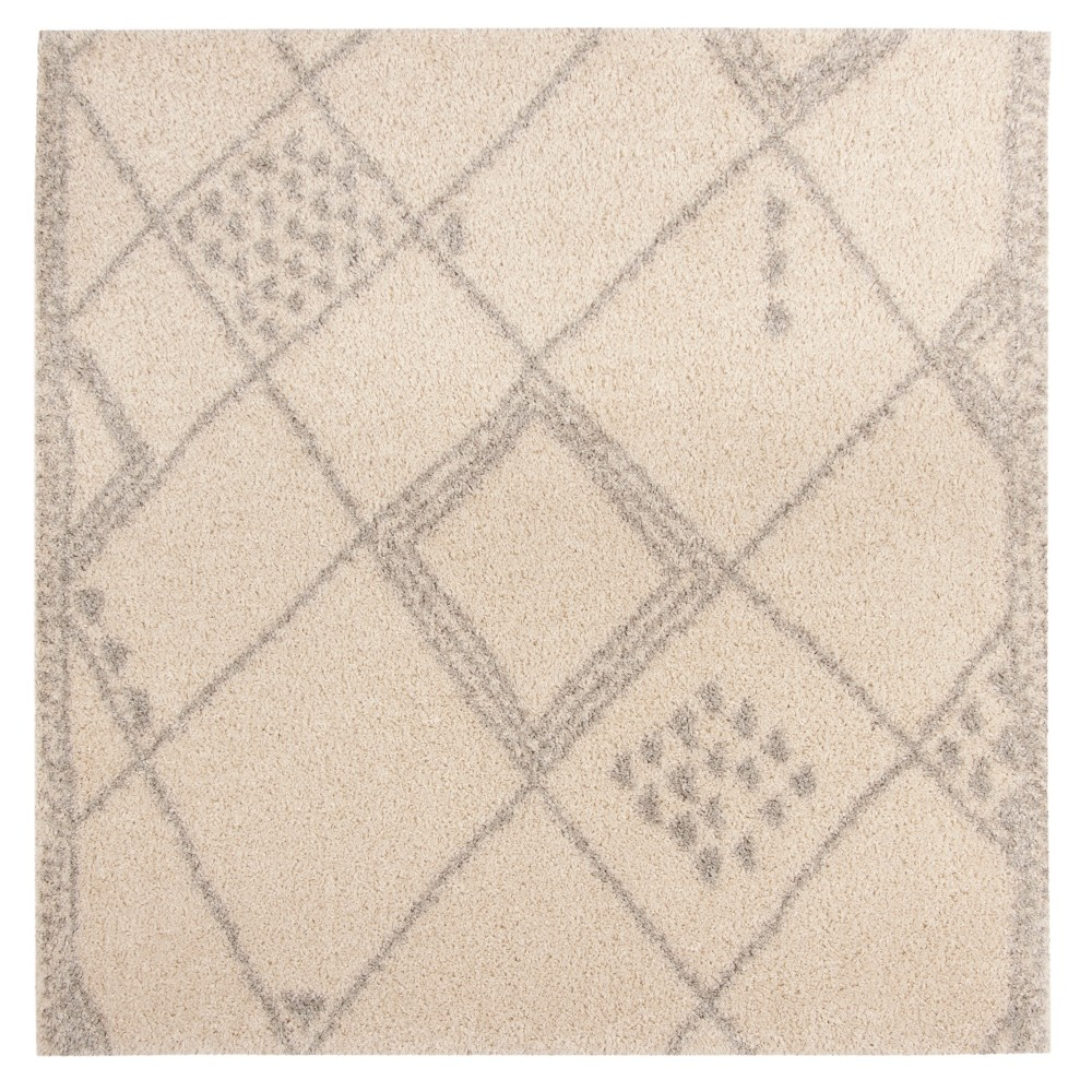 Ivory/Gray Geometric Loomed Square Area Rug 6'7