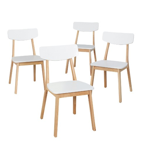 Perla Dining Chair Set Of 4 White Natural Lateral