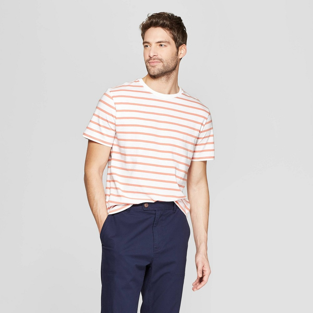Men's Striped Standard Fit Short Sleeve Novelty T-Shirt - Goodfellow & Co Hearth Brown L
