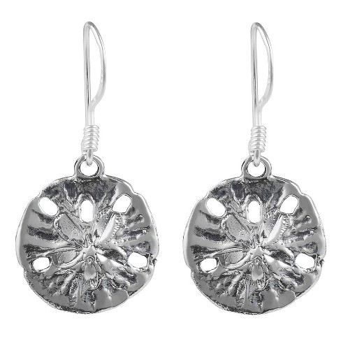 Womens Journee Collection Sterling Silver Textured Sand Dollar Dangle Earrings