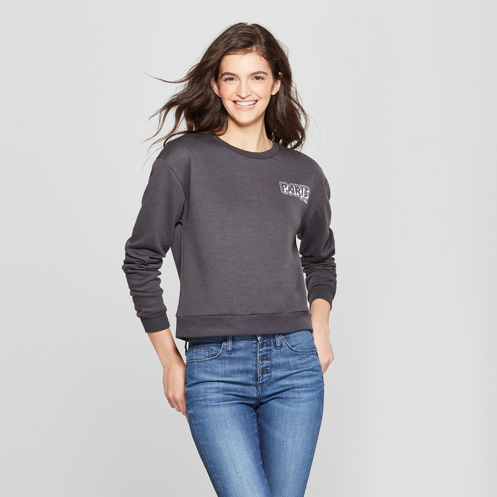 Women's Paris France Cropped Graphic Sweatshirt - Mighty Fine (Juniors') Black Xxl