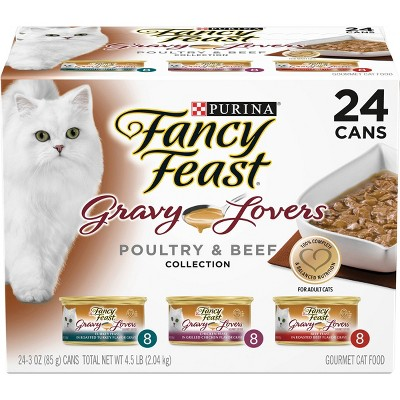 Purina Fancy Feast Gravy Lovers Poultry & Beef Collection Gourmet Wet Cat Food - 3oz/24ct Variety Pack
