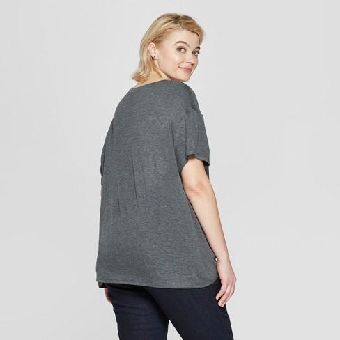 389370f147d Women s Plus Size Short Sleeve Tie Front T-Shirt - Ava   Viv™ Dark Heather  Gray   Target