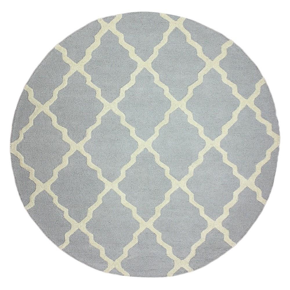 nuLOOM 100% Wool Hand Hooked Marrakech Trellis Area Rug - Gray (6' Round), Lt Grey