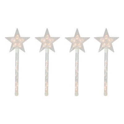 Northlight 4ct Lighted Star Christmas Pathway Marker with Lawn Stakes White Wire - Clear Lights