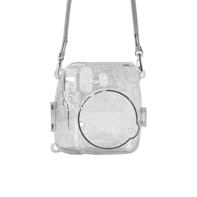 ATNY Instax Instant Camera Hard Shell Case with Adjustable Strap - Silver Glitter