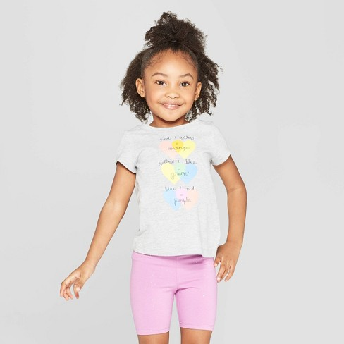 Toddler Girls' Short Sleeve 'Hearts' Graphic T-Shirt - Cat & Jack™ Gray - image 1 of 3