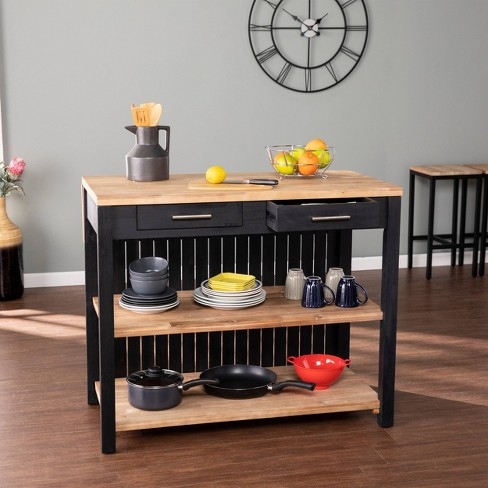 Nashhex Expandable Freestanding Kitchen Island Black/Natural - Aiden Lane - image 1 of 4
