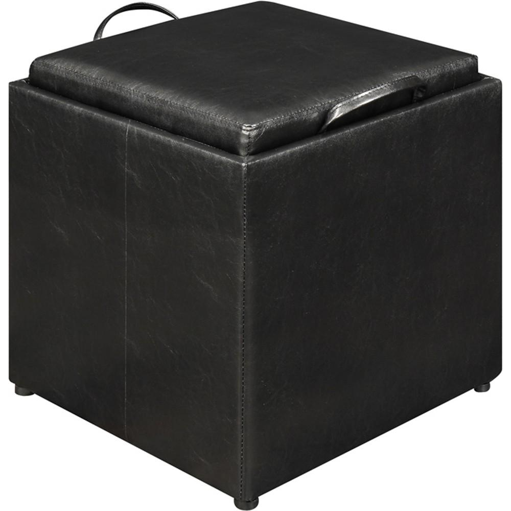 3 Piece Designs4Comfort Storage Ottoman Black - Convenience Concepts