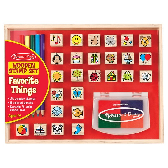 Melissa & Doug Wooden Stamp Set, Favorite Things - 26 Wooden Stamps, 4-Color Stamp Pad image number null