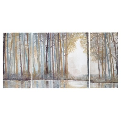 "(Set of 3) 30"" Height Forest Reflections Gel Coated Canvas"