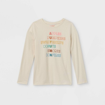 Girls' Printed Graphic Long Sleeve T-Shirt - Cat & Jack™ Cream
