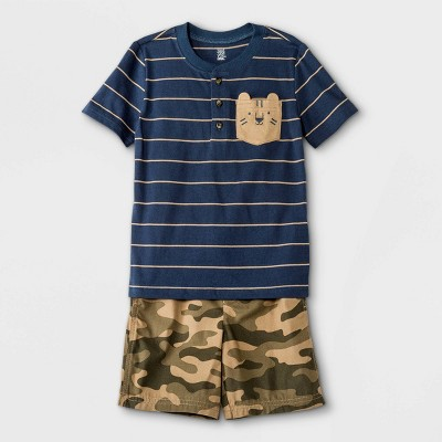 Toddler Boys' 2pc Tiger Henley Short Sleeve Top and Camo Pull-On Shorts Set - Just One You® made by carter's Navy
