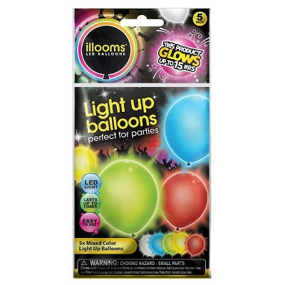 5ct illooms LED Light Up Mixed Solid Balloon