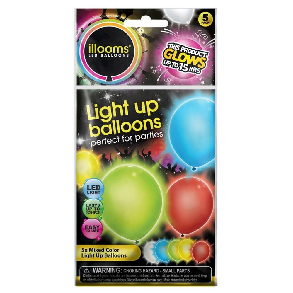 Image of 5ct illooms LED Light Up Mixed Solid Balloon, Kids Unisex