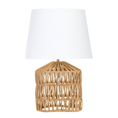 Drum Shaped Rope Table Lamp with Empire Shade Brown - 3R Studios