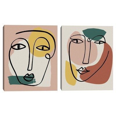 """(Set of 2) 22"""" x 28"""" Newstalgia Face 1 and 2 by Canvas Art Prints - Masterpiece Art Gallery"""