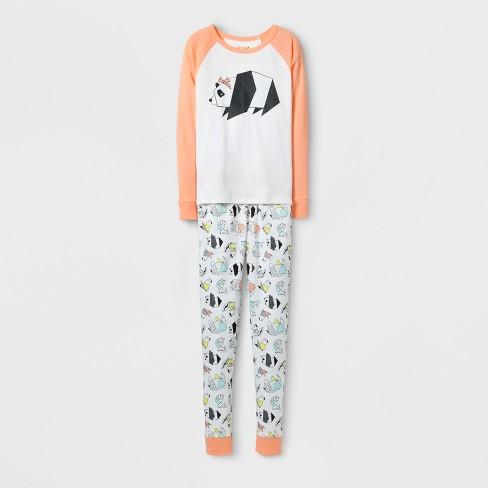 Girls' Panda Tight Fit Pajama Set - Cat & Jack™ White - image 1 of 1