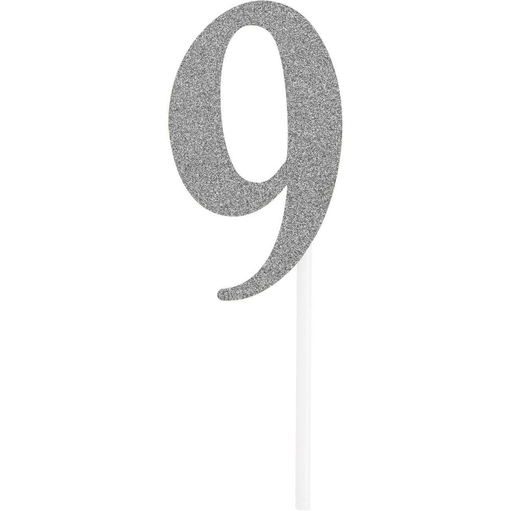 Number 9 Glitter Cake Topper Party Decoration Silver