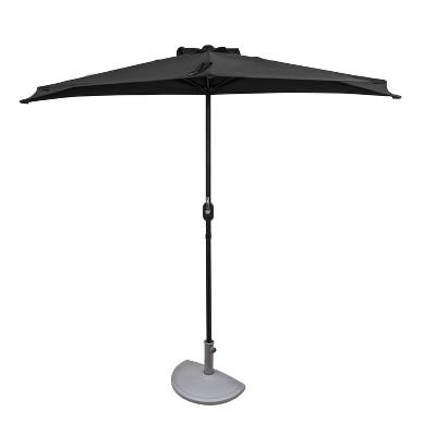 9' x 4.5' Lanai Half Patio Umbrella Slate Gray - Island Umbrella