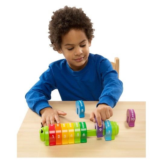 Melissa & Doug Counting Caterpillar - Classic Wooden Toy With 10 Colorful Numbered Segments image number null