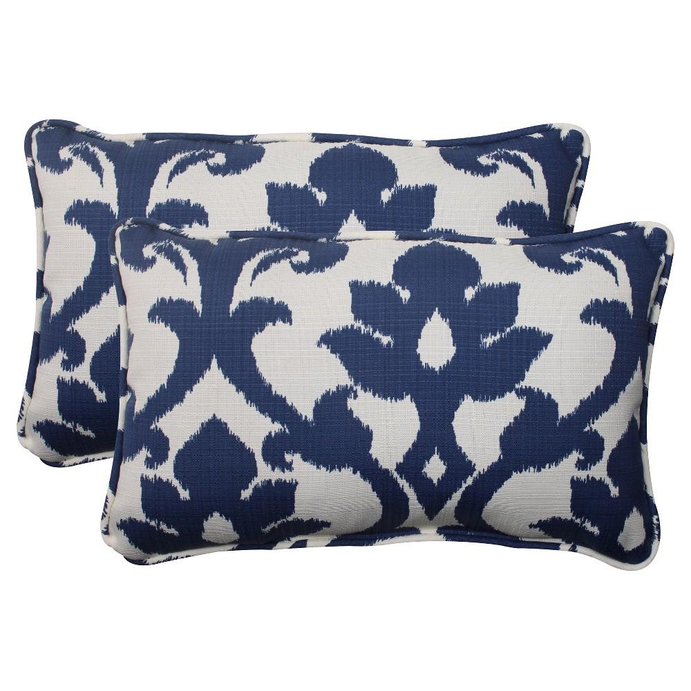Outdoor 2-Piece Lumbar Toss Pillow Set - Blue/White Damask