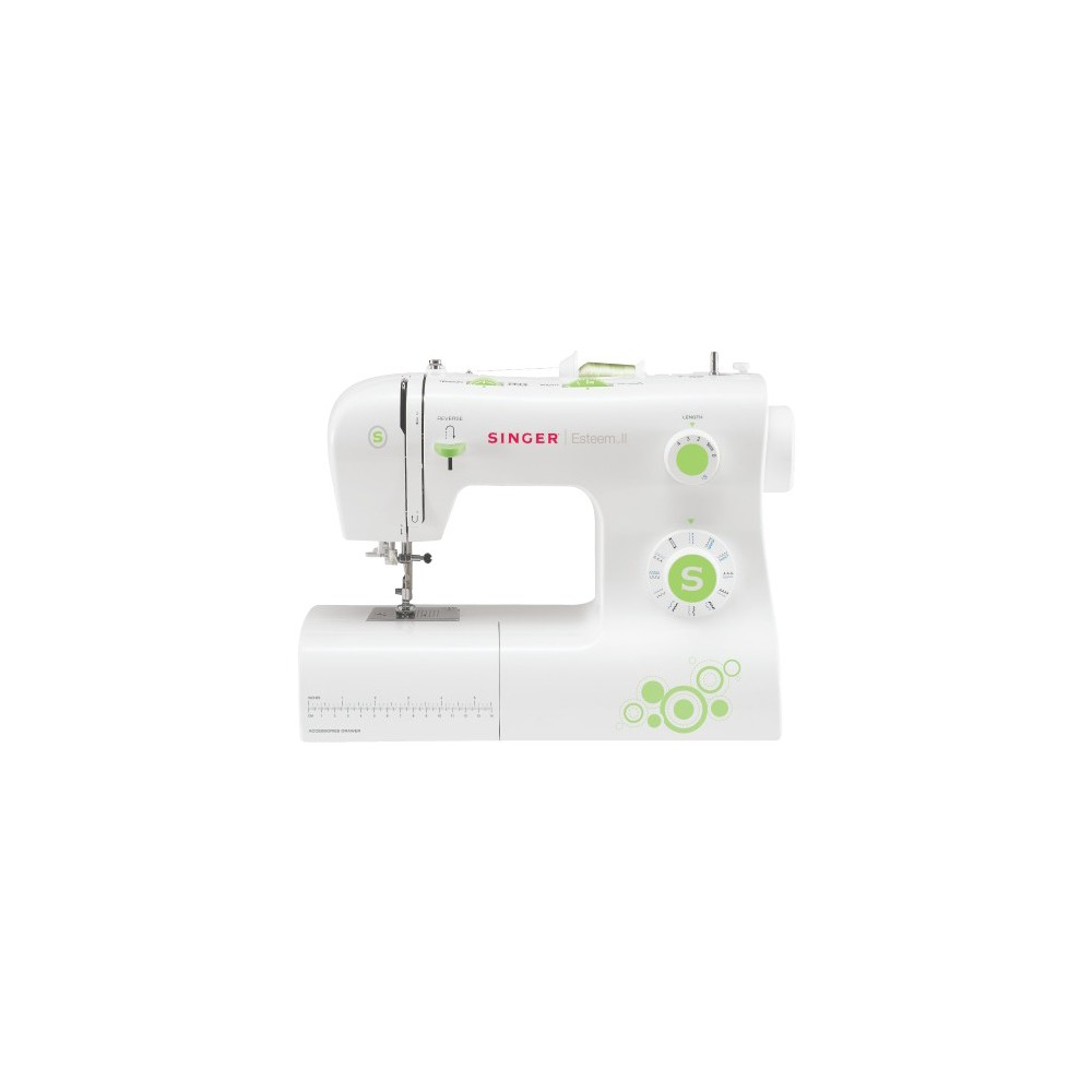Singer Esteem II Sewing Machine - 2273, White Whether you've been sewing for years or you're just getting started, the Singer Esteem II Sewing Machine has everything you need to create beautiful clothing, pillows and more. With features like the automatic needle threader, adjustable stitch length and width, 23 built-in stitch patterns and hundreds of stitch functions, this sewing machine offers a plethora of convenient features without being overwhelming. The lightweight design makes this machine easy to move around, and the included instructional video provides extra direction if you find yourself in need of help. Color: White.