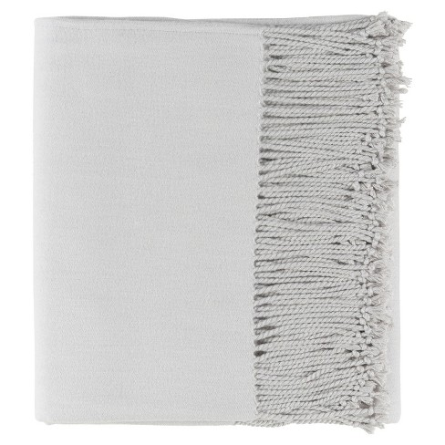 Light Grey Dunton Woven Throw Blankets 50 X60 Surya