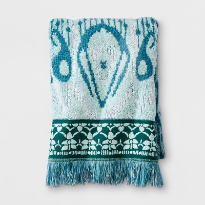 Ikat Border Fringed Bath Towel Teal Blue - Opalhouse™