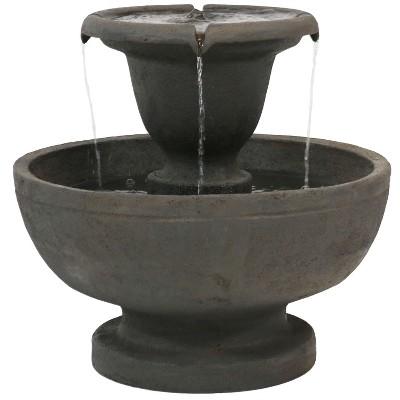 "Sunnydaze 25""H Electric Polyresin 2-Tier Streaming Falls Outdoor Water Fountain"