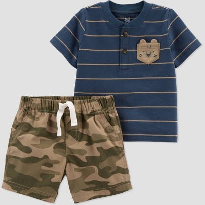 Baby Boys' Tiger Camo Top & Bottom Set - Just One You® made by carter's Green/Blue