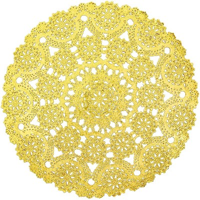 """60 Piece Medallion Gold Round Shape 12"""" Paper Doilies Lace Placemats for Art & Craft Wedding Anniversary Party Pastry Table Decorations, 12 inches"""