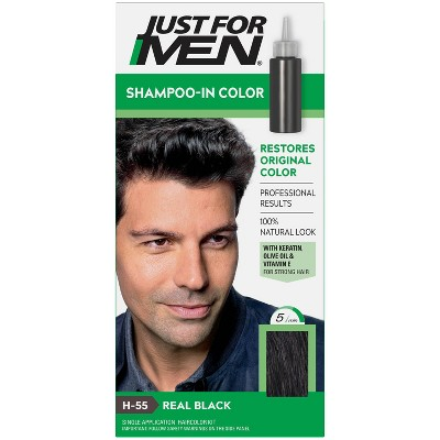 Just For Men Shampoo-In Color Gray Hair Coloring for Men - Real Black H55