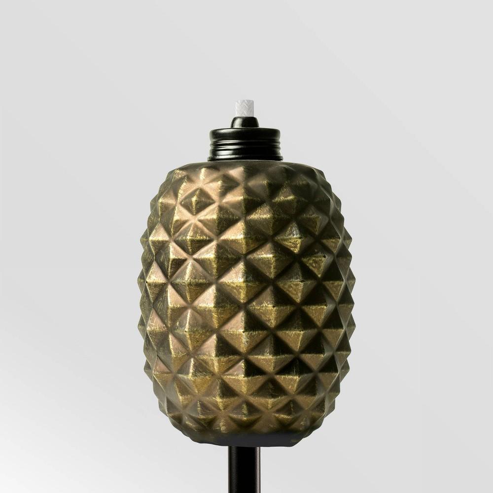 "Image of ""Tiki Brand 65"""" Aloha Pineapple Glass Torch Copper, Brown"""