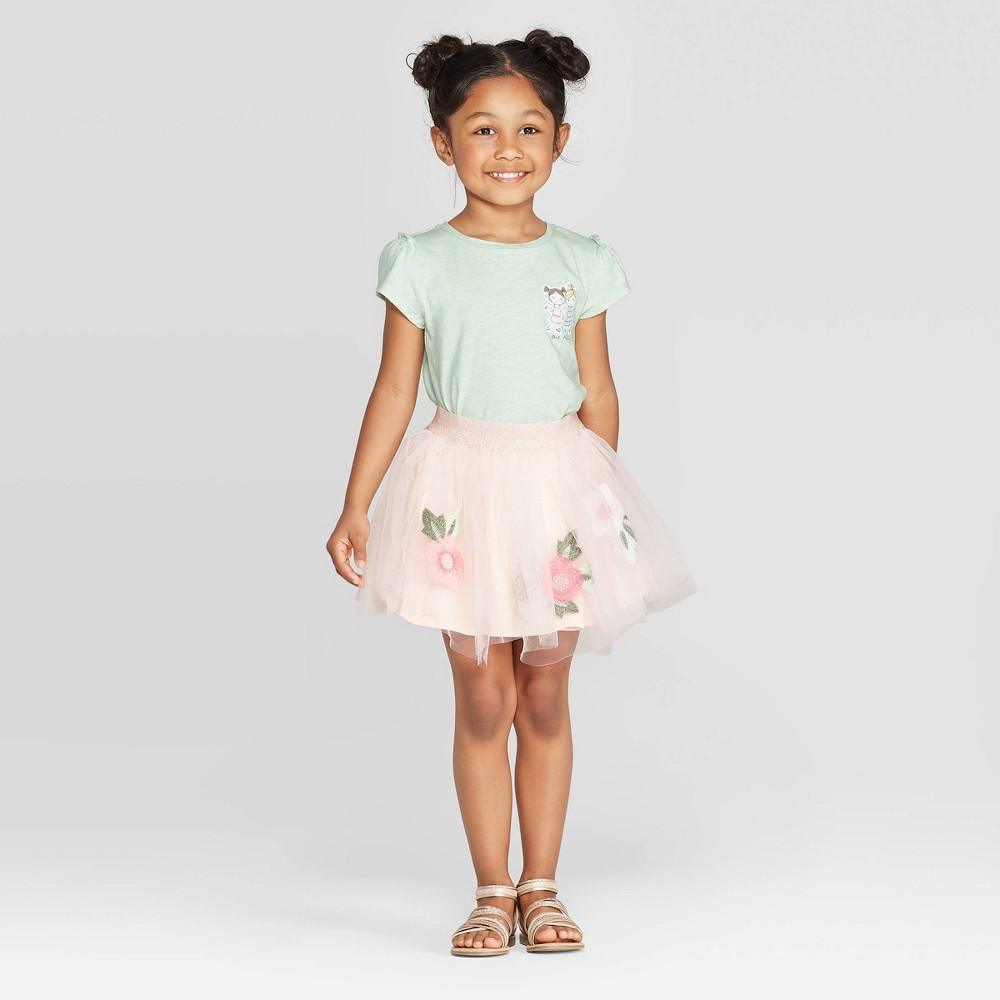 Image of Mila & Emma Toddler Girls' Floral Print 2pc T-Shirt and Embroidered Skirt Set - Mint/Pink 12M, Girl's, Green/Pink