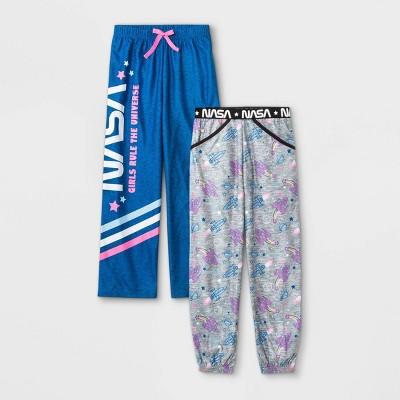 Girls' NASA 2pk Pajama Pants - Gray/Blue