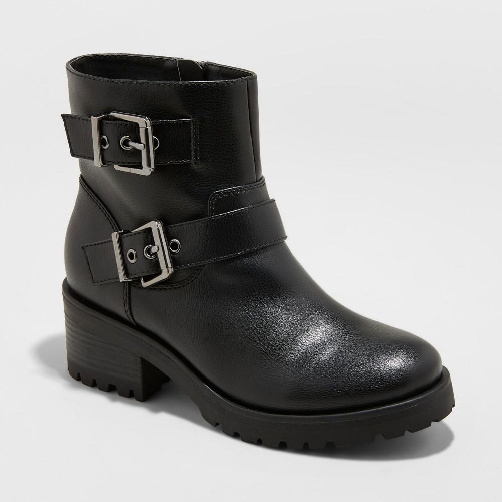 Women's Laraine Faux Leather Wide Width Buckle Fashion Bootie - Universal Thread Black 8.5W, Size: 8.5 Wide