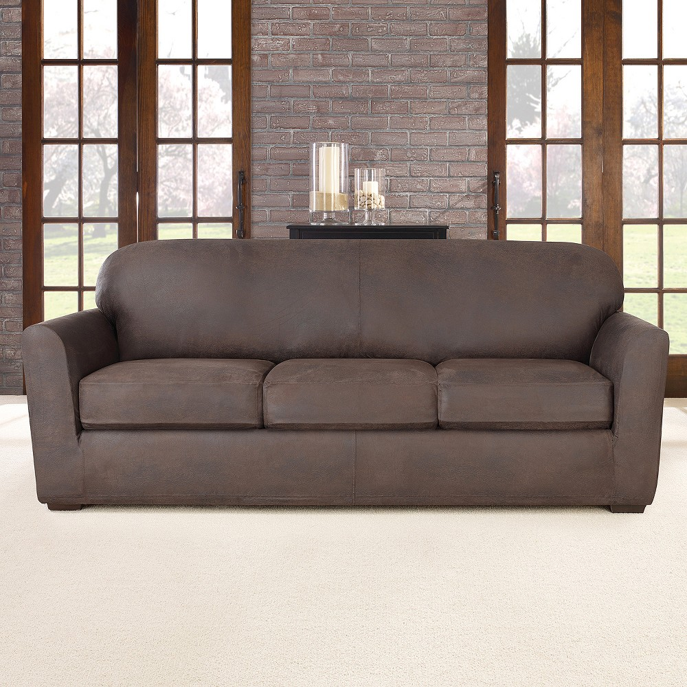 Image of 4pc Ultimate Stretch Leather Sofa Slipcover Weathered Brown - Sure Fit