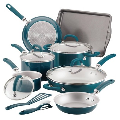 Rachael Ray Create Delicious 13pc Aluminum Nonstick Cookware Set Teal