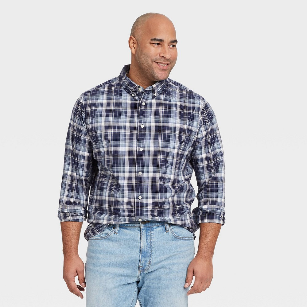 Men 39 S Big 38 Tall Plaid Standard Fit Stretch Poplin Long Sleeve Button Down Shirt Goodfellow 38 Co 8482 Academy Blue 5xbt