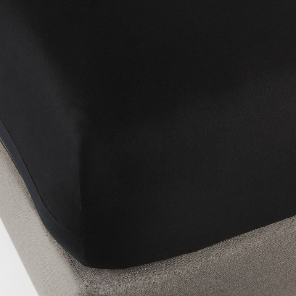 Full 300 Thread Count Ultra Soft Fitted Sheet Black - Threshold Compare