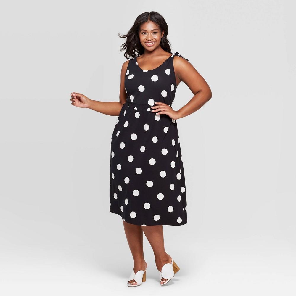 Women's Plus Size Polka Dot Scoop Neck Maxi Dress - Who What Wear Black X