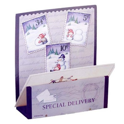 Northlight Club Pack of 72 Purple and White 'Special Delivery' Snowman Christmas Card Holders 7.5""